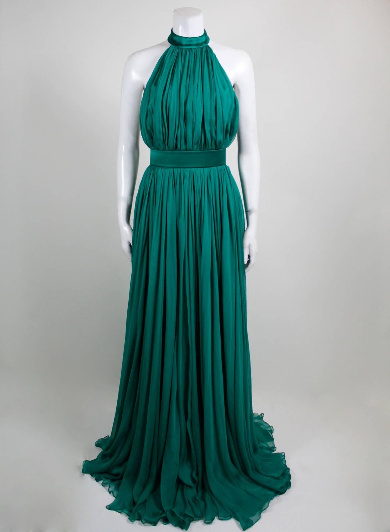 Alexander McQueen 2010 Flowing Emerald Green Chiffon Halter Gown with Belt 3