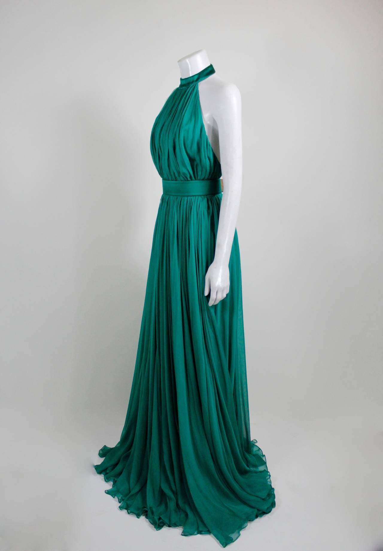 Alexander McQueen 2010 Flowing Emerald Green Chiffon Halter Gown with Belt 4