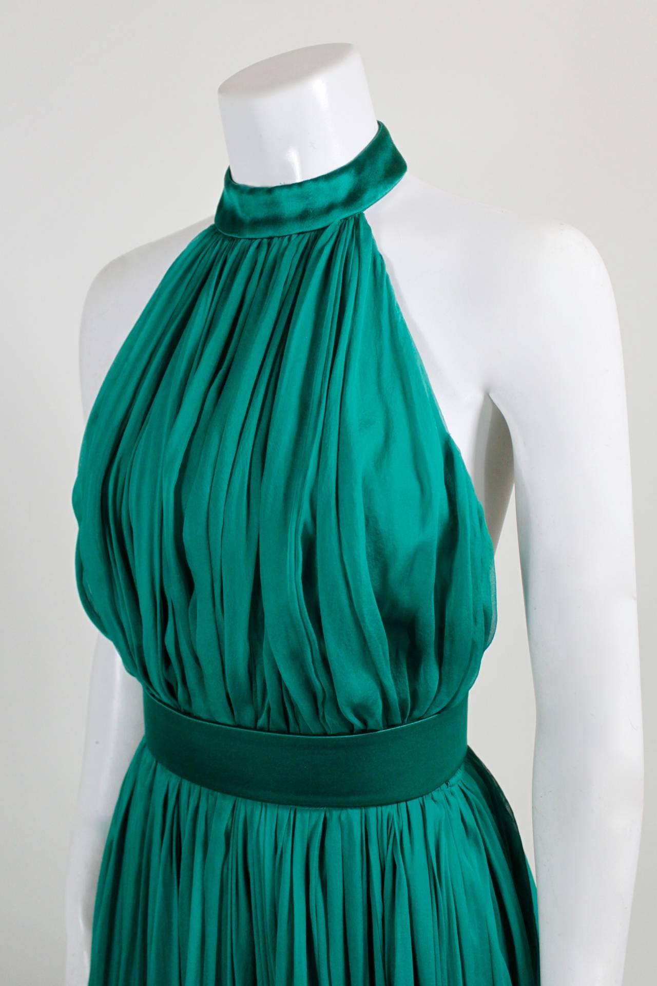 Alexander McQueen 2010 Flowing Emerald Green Chiffon Halter Gown with Belt 5