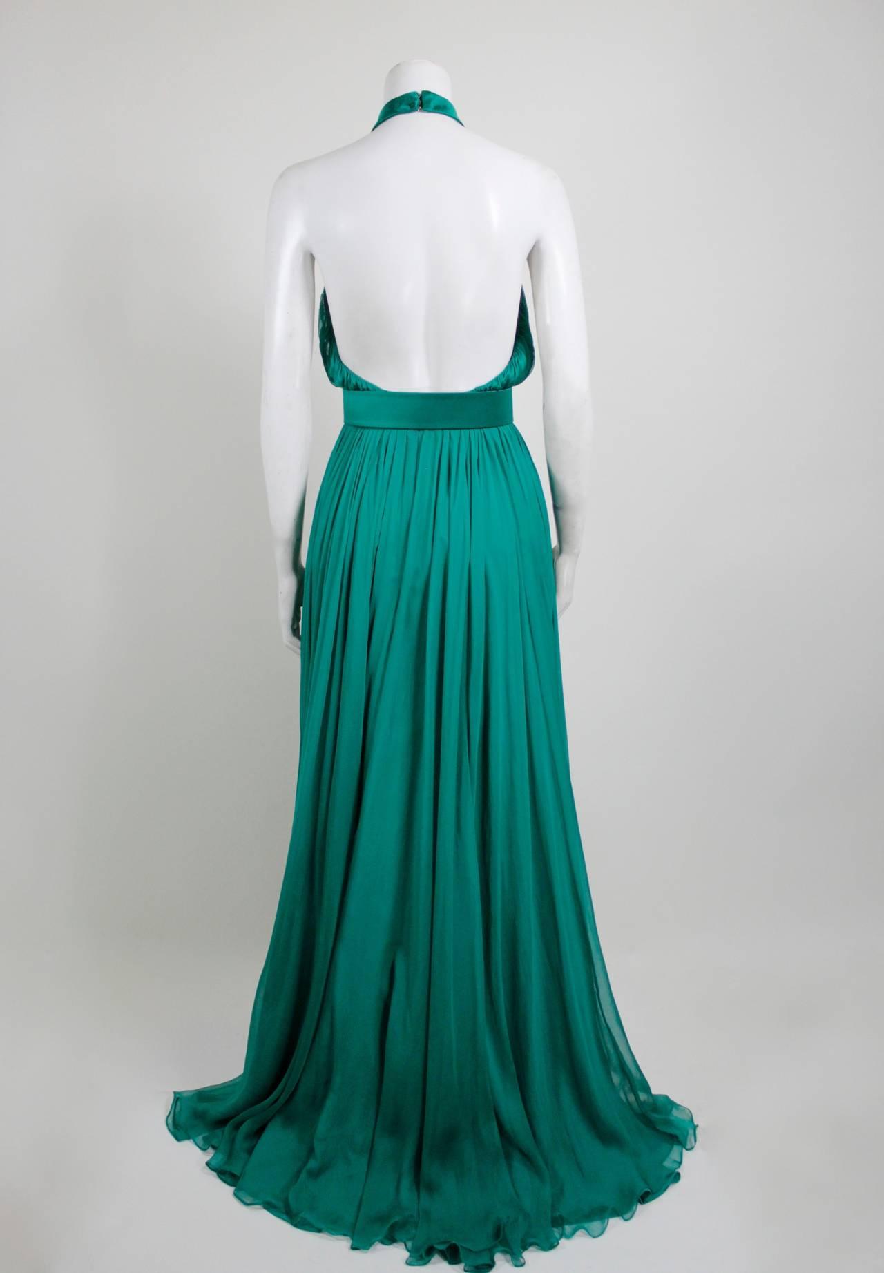 Alexander McQueen 2010 Flowing Emerald Green Chiffon Halter Gown with Belt 6
