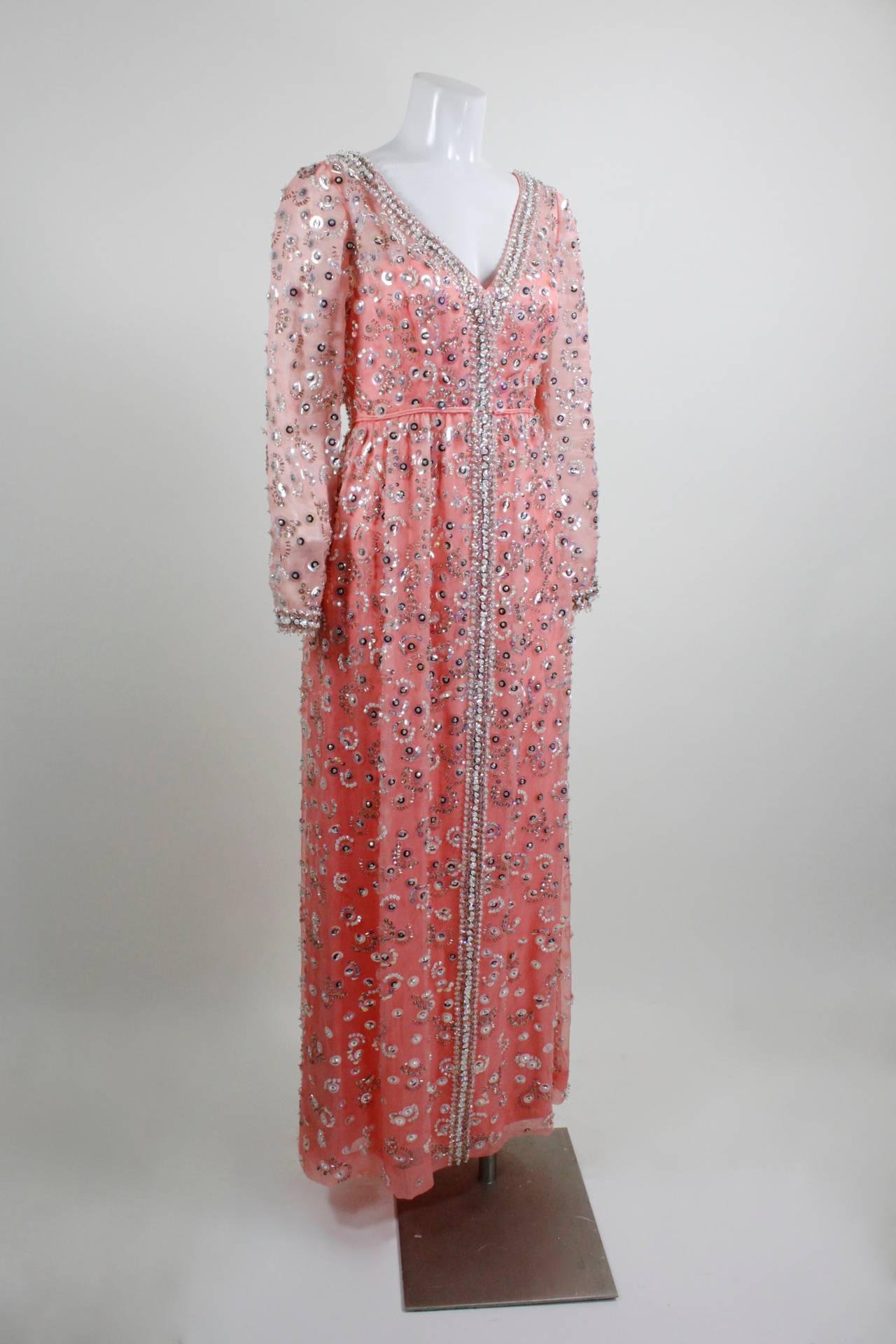 1960s pink iridescent sequined evening gown for sale at