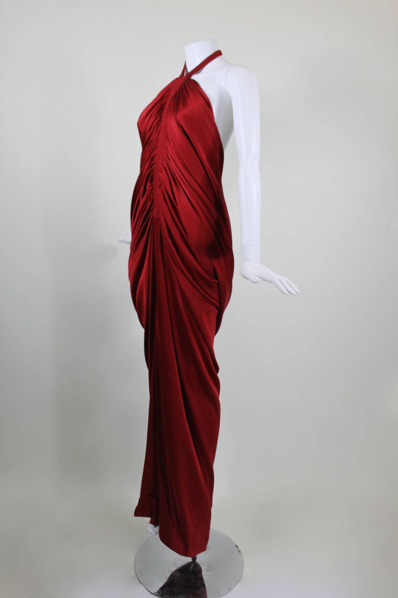 1980s pierre cardin haute couture red silk jersey cocoon for Haute couture red
