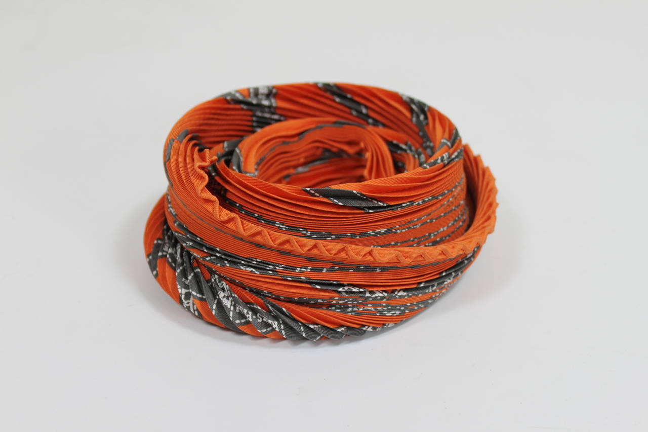 herm 232 s plisse scarf with iconic ribbon print at 1stdibs