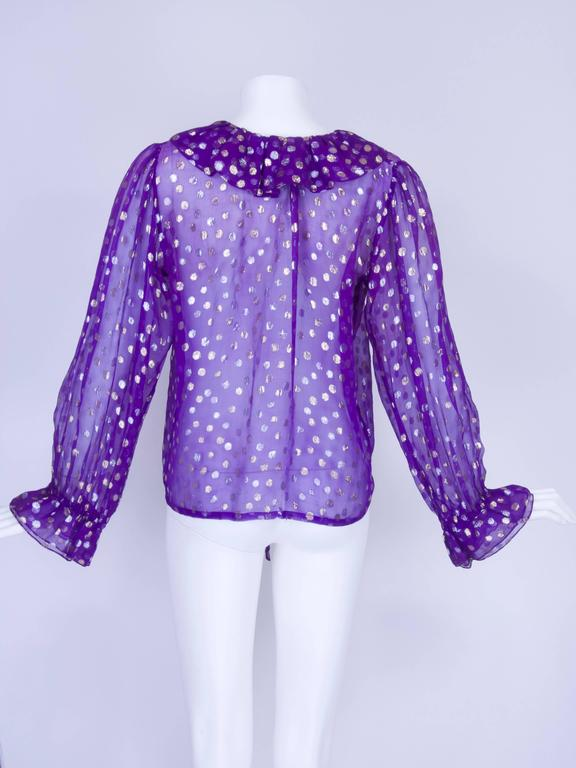 1970s YSL Purple and Metallic Silver and Gold Polka Dot Peasant Blouse 2