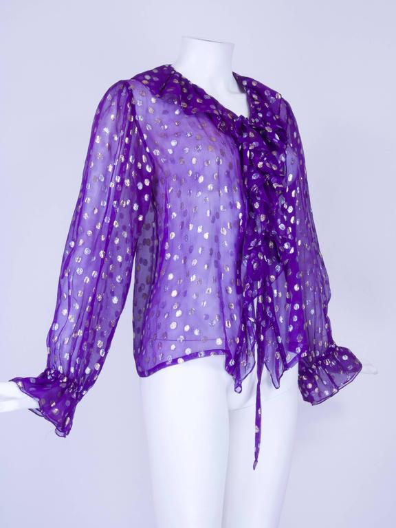 1970s YSL Purple and Metallic Silver and Gold Polka Dot Peasant Blouse 3