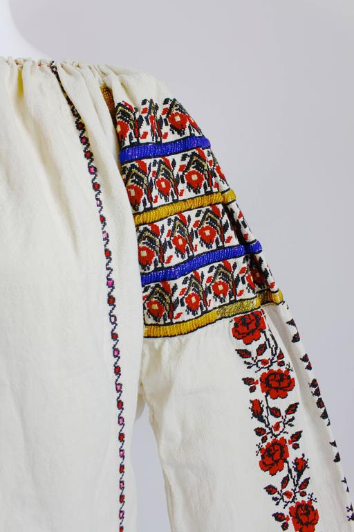 1930s Eastern European Geometric Floral Beaded and Embroidered Peasant Blouse 4