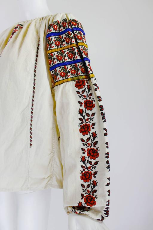 1930s Eastern European Geometric Floral Beaded and Embroidered Peasant Blouse 6