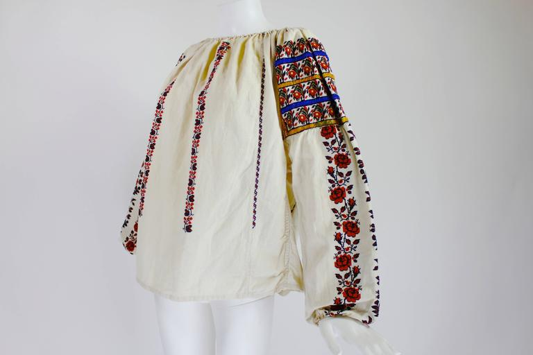 1930s Eastern European Geometric Floral Beaded and Embroidered Peasant Blouse 2