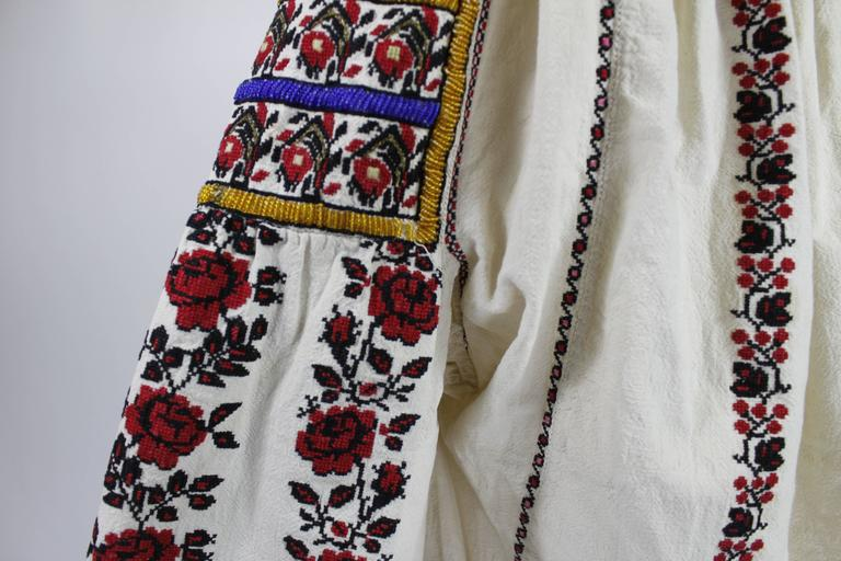 1930s Eastern European Geometric Floral Beaded and Embroidered Peasant Blouse 7