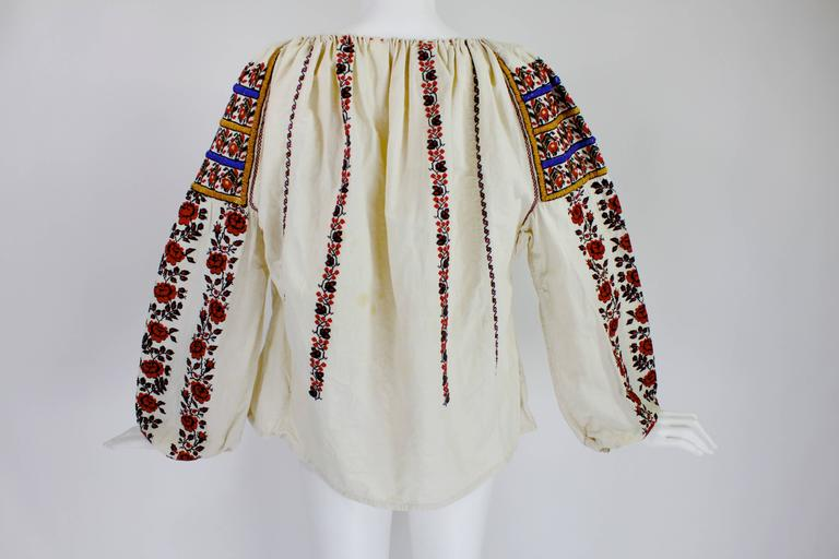 1930s Eastern European Geometric Floral Beaded and Embroidered Peasant Blouse 3