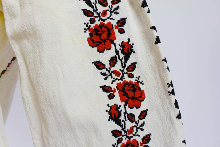 1930s Eastern European Geometric Floral Beaded and Embroidered Peasant Blouse 8