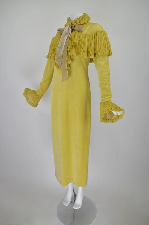 1990s Chloe Marigold Velvet Gown with Chiffon Pleating 3