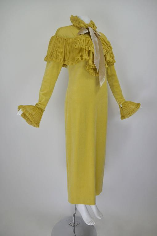1990s Chloe Marigold Velvet Gown with Chiffon Pleating 4