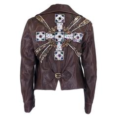 Late 1990s Roberto Cavalli Brown Leather Moto Jacket with Beaded Embellishment