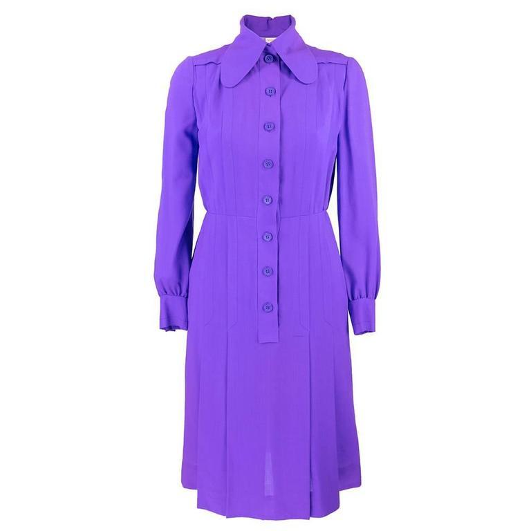 1970s Patou Violet Button Front Shirt Dress 1