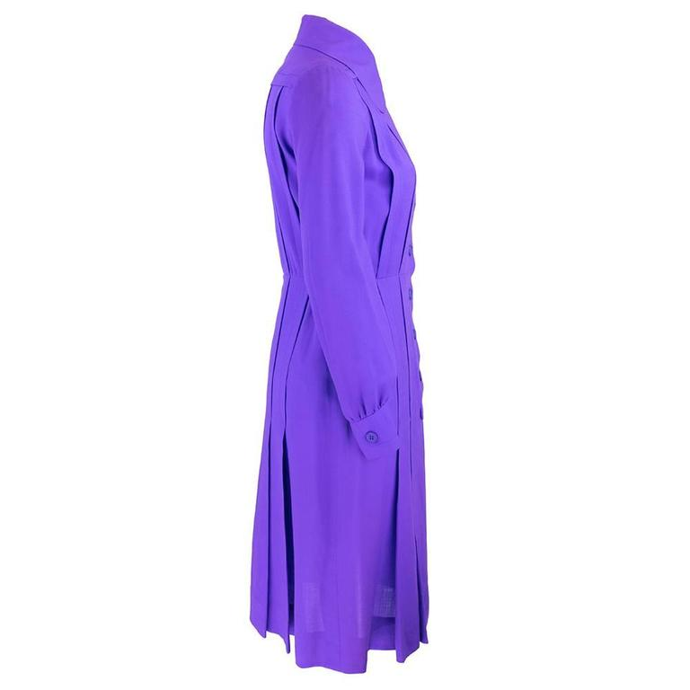 1970s Patou Violet Button Front Shirt Dress 2