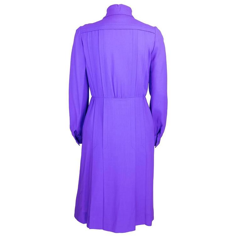 1970s Patou Violet Button Front Shirt Dress 3