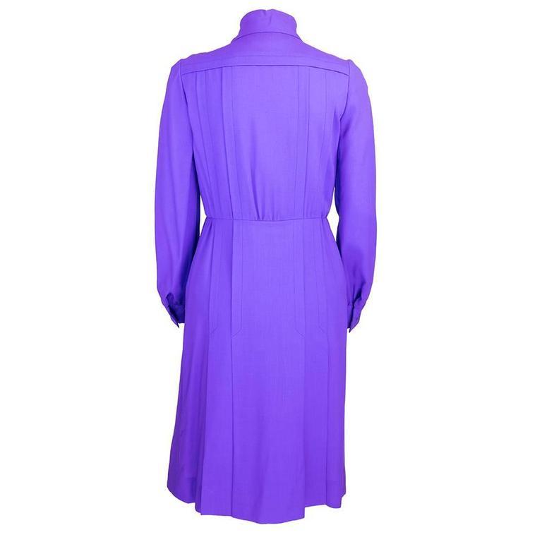 1970s Patou Violet Button Front Shirt Dress 3