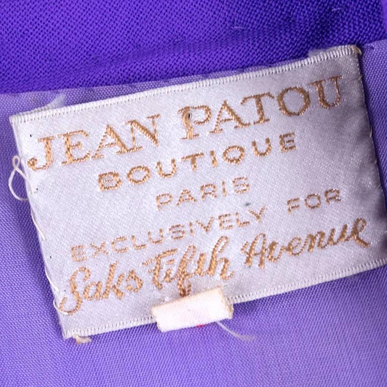 1970s Patou Violet Button Front Shirt Dress 5