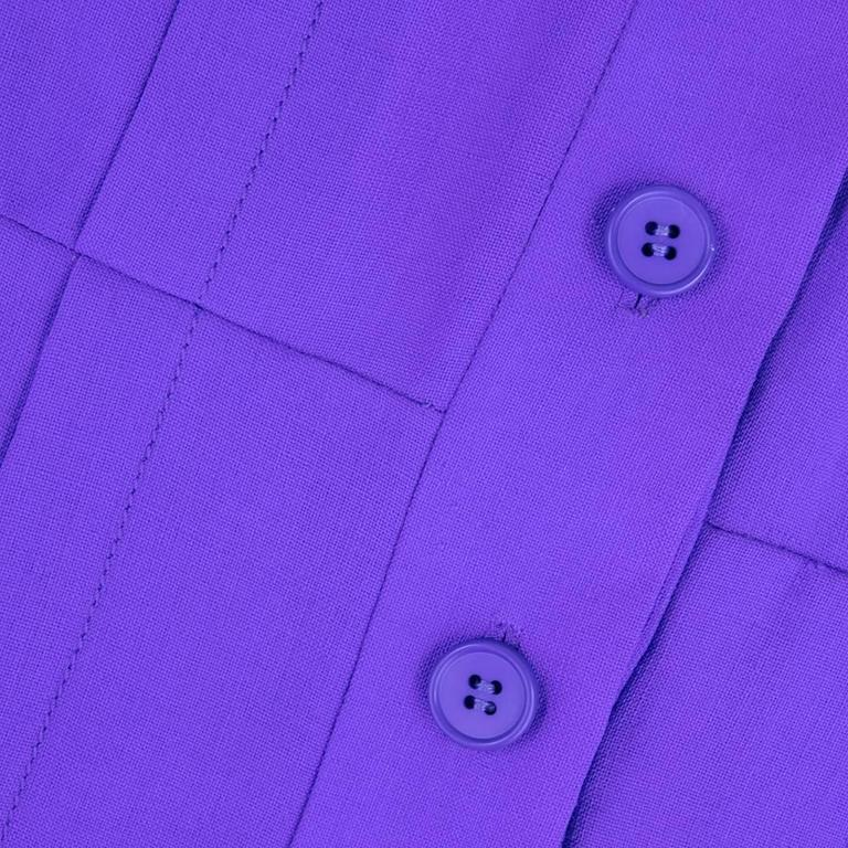1970s Patou Violet Button Front Shirt Dress 4