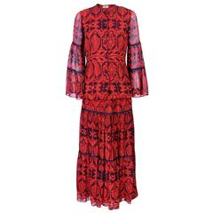 1970s Thea Porter Red and Black Woodblock Motif Ensemble