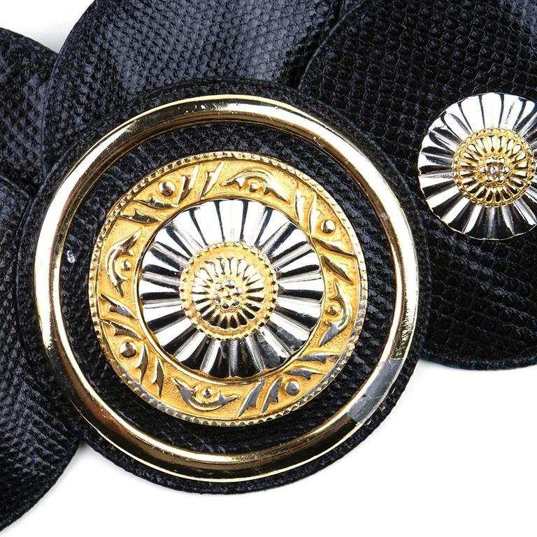 1980s Judith Leiber Reptile Belt w/Round Medallions 4