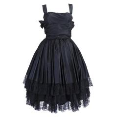 1950s Black Taffeta and Lace Tiered Party Dress with Bows
