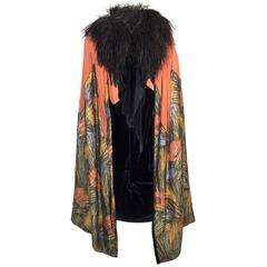 1920s Burnt Orange Silk Velvet Cape with Floral Lame and Ostrich Feathers