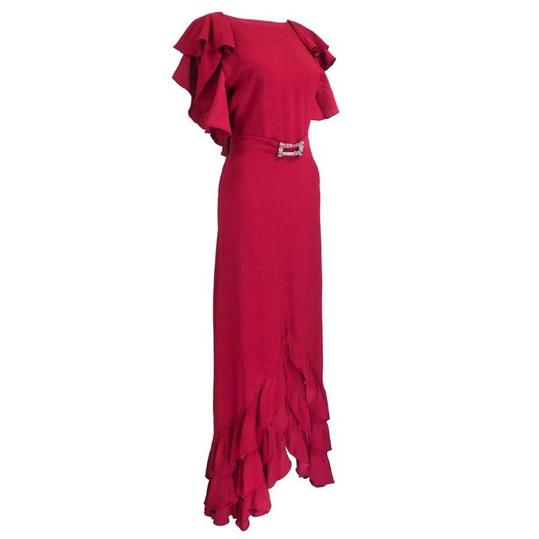 1930s Deco Red Gown 1