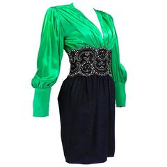1990s Lanvin Green and Black Silk Cocktail Dress