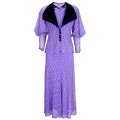 1930s Lilac Lace Gown with Matching Jacket