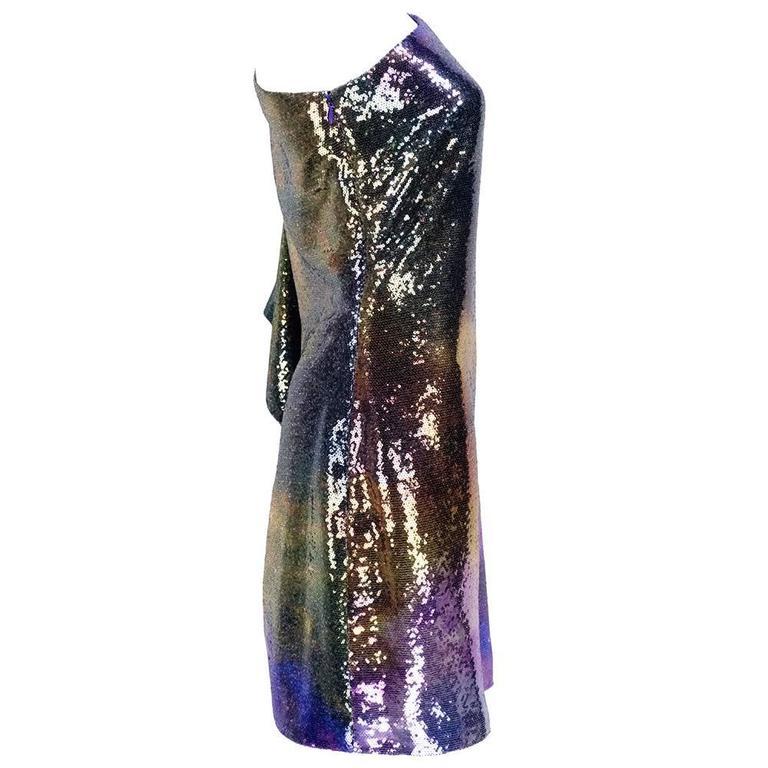 Unlabelled 1990s One Shoulder Rainbow Sequin Cocktail Dress 2