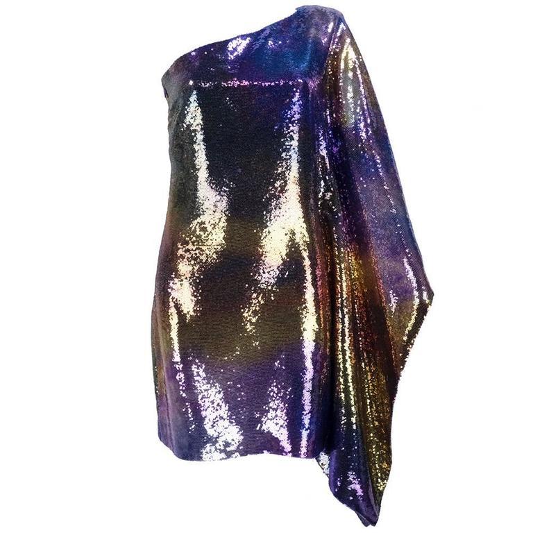Unlabelled 1990s One Shoulder Rainbow Sequin Cocktail Dress 1