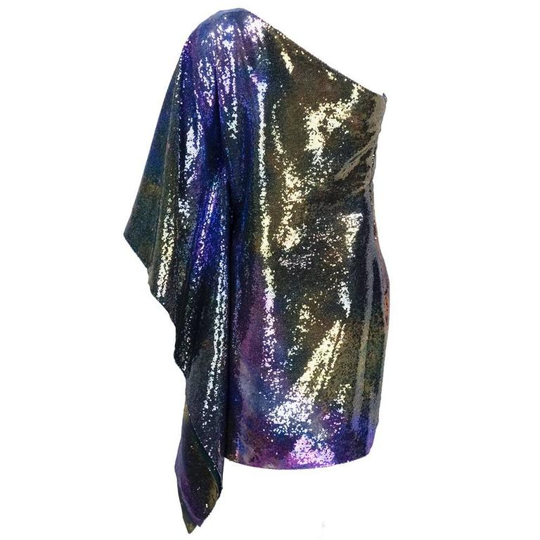 Unlabelled 1990s One Shoulder Rainbow Sequin Cocktail Dress 3