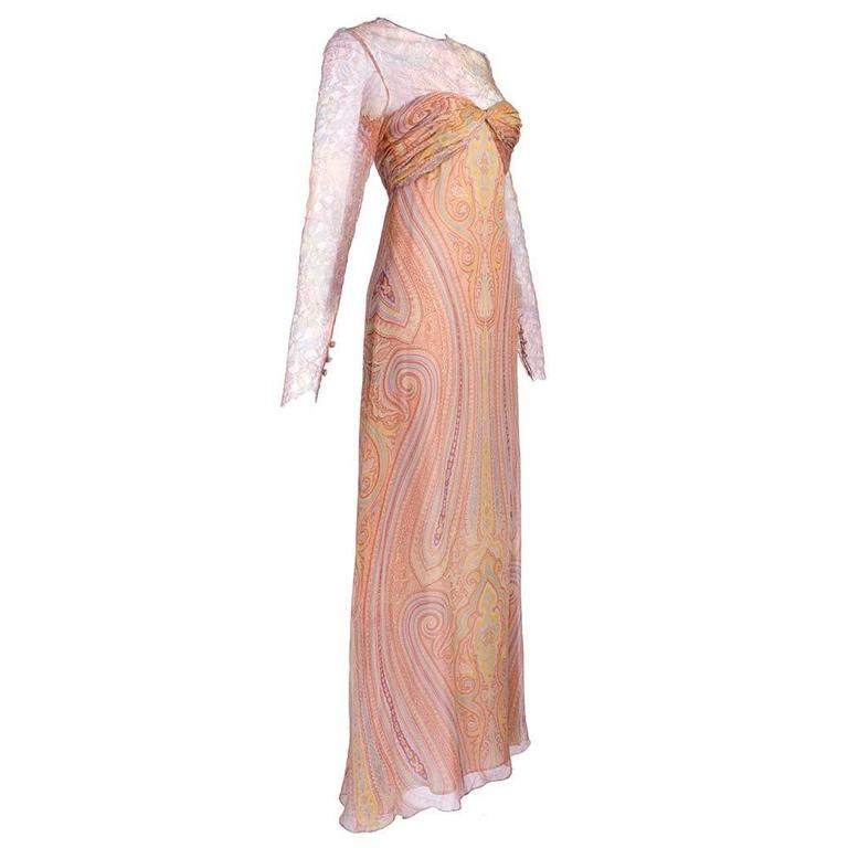 Bill Blass 1980s Lace and Chiffon Paisley Gown 1