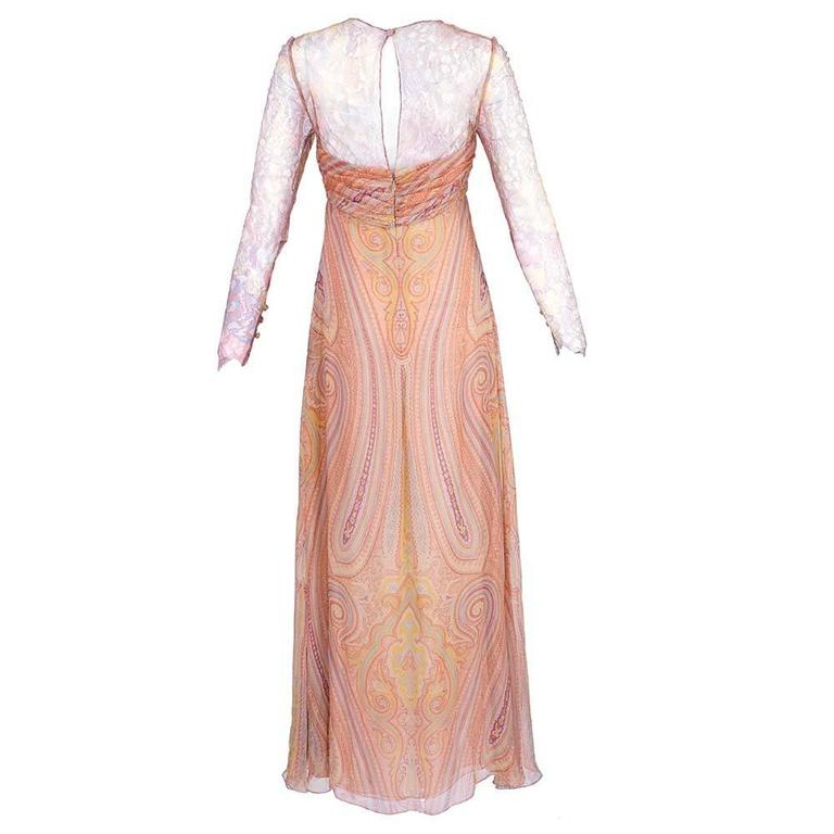 Bill Blass 1980s Lace and Chiffon Paisley Gown 3