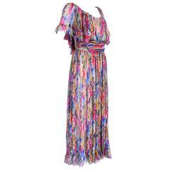 1980s Christian Dior Boutique Chiffon Peasant Dress