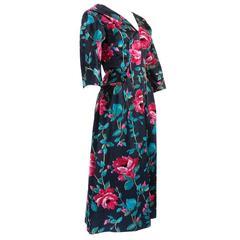 1960s Black Floral coup de velour Cocktail Dress