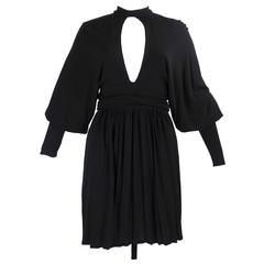 1970s Gina Fratini Black Jersey Mini Dress