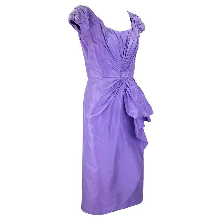 1950s ceil chapman lilac wiggle dress at 1stdibs