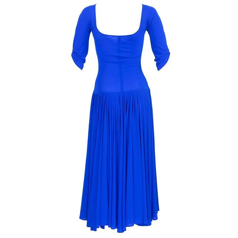 Norma Kamali 1990s Blue Jersey Dress  2