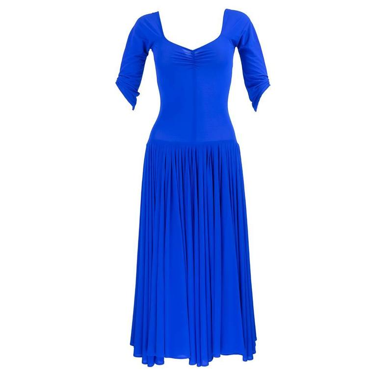Norma Kamali 1990s Blue Jersey Dress  3