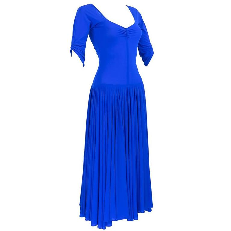 Norma Kamali 1990s Blue Jersey Dress  1