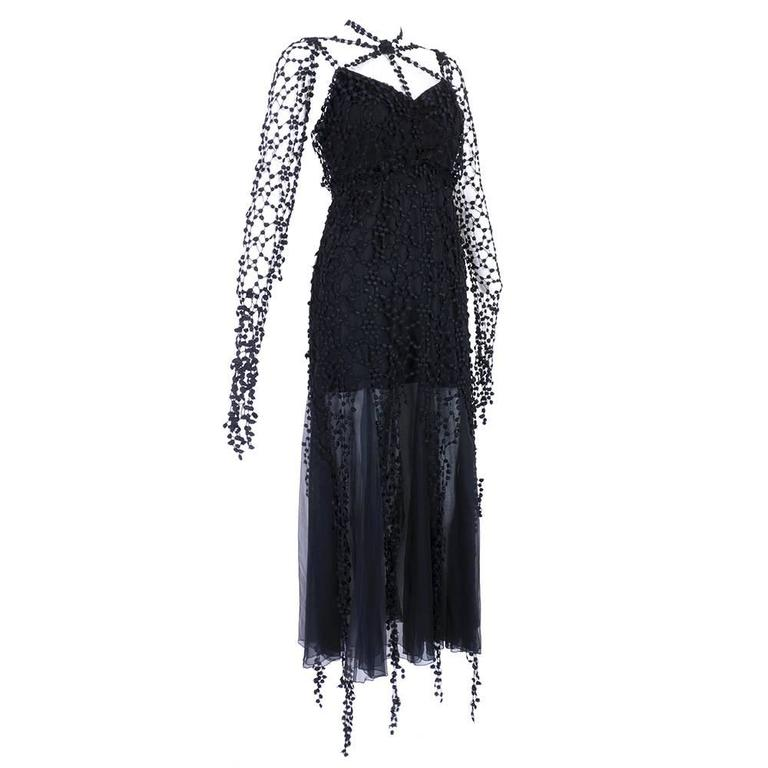 Karl Lagerfeld 1990s Black Gothic Fantasy Dress 1