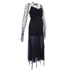 1990s Karl Lagerfeld Black Gothic Fantasy Dress