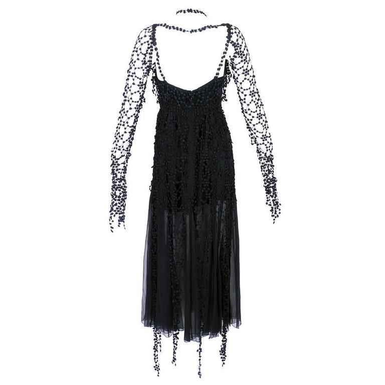 Karl Lagerfeld 1990s Black Gothic Fantasy Dress 2