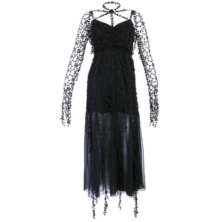 Karl Lagerfeld 1990s Black Gothic Fantasy Dress 3
