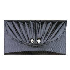 Judith Lieber 1980s Leather Wallet With Frog Accents