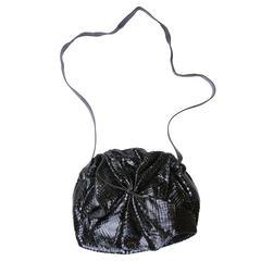 Carlos Falchi 1980s BlackSnakeskin Slouch Bag