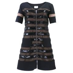 Courreges Tulle, Sequin and Vinyl Zip Front Dress